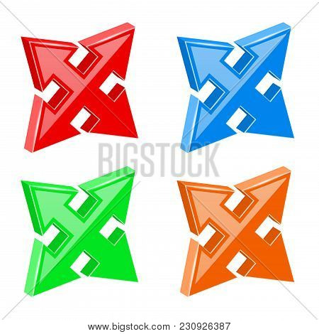 Arrows Set. Multi Directional Combo Arrows. Vector 3d Illustration Isolated On White Background