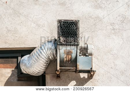Ventilation System With Pipe And Extractor Fan Outside Of The Small Bakery For Ventilating Air