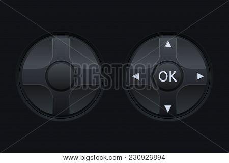 Black Round Knob Switch. Vector 3d Illustration
