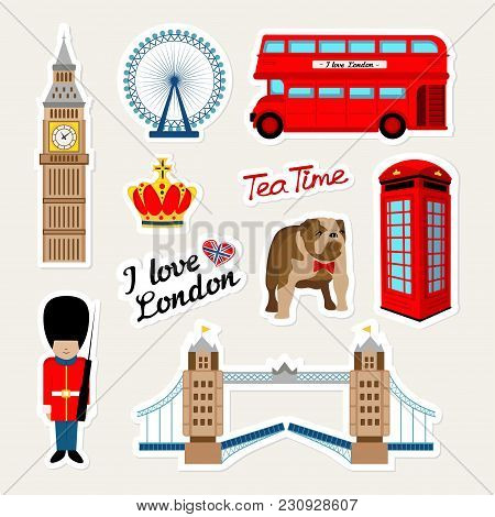 Fashion English Patch Badges With London Bus, Telephone, Crown, England Bulldog, Bridge, Guard, Lond