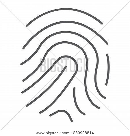 Finger Print Thin Line Icon, Development And Business, Branding Sign Vector Graphics, A Linear Patte