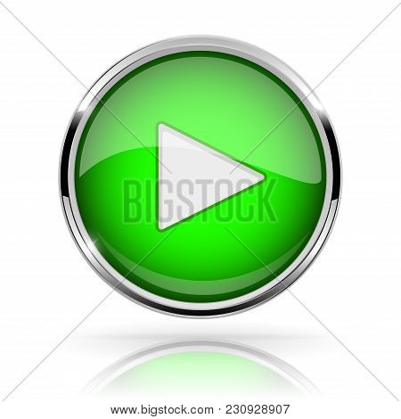 Green Round Media Button. Play Button. Shiny Icon With Chrome Frame And With Reflection. Vector 3d I