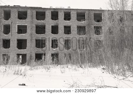 The Old Abandoned House Without Windows. Windows Without Frames