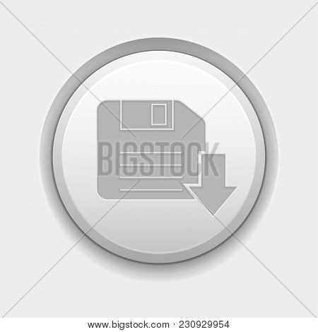 Save Or Download Icon. White Round 3d Button On White Background. Vector Illustration