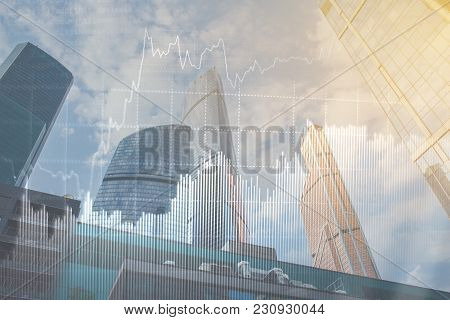 Double Explosure With Business Charts And Financial District