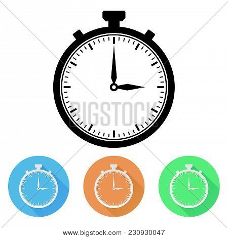 Stopwatch. Colored Icons. Vector Illustration Isolated On White Background