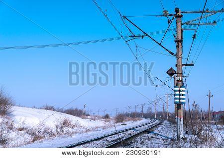 The Railway Makes A Turn. Winter Season