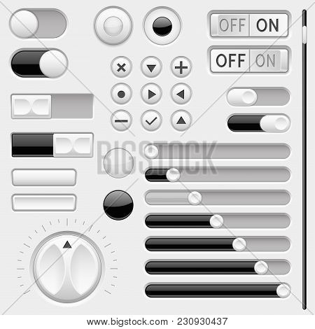 Set Of Black And White Interface Navigation Buttons, Sliders. Vector 3d Illustration