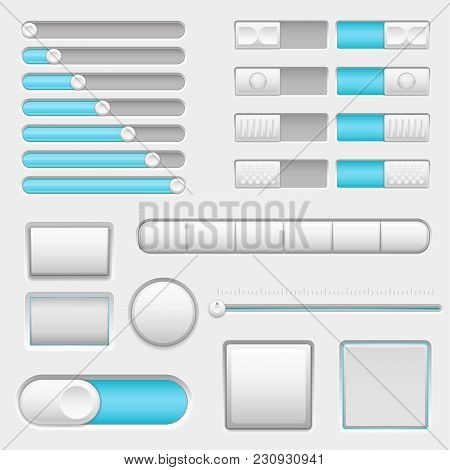 Set Of White And Blue Interface Navigation Buttons, Sliders. Vector 3d Illustration
