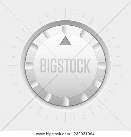 White Round Knob Button. Volume Selector. Vector 3d Illustration