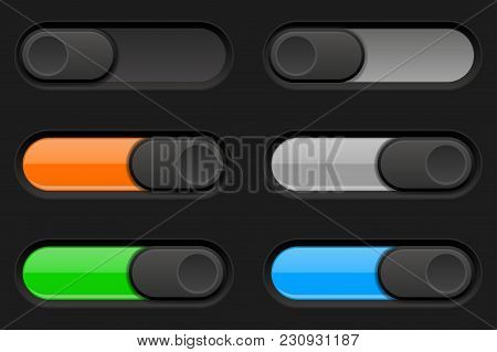 On And Off Long Oval Icons. Black And Colored Switch Interface Buttons. Vector 3d Illustration