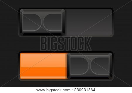 On And Off Slider Buttons. Black And Orange Buttons. Vector 3d Illustration