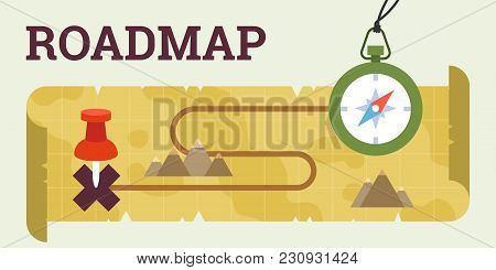 Roadmap Pathway With Compass And Map Concept