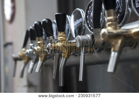 Warsaw, Poland - May 01, 2017, Beer Taps And Beer List In Street Cafe In Old Town