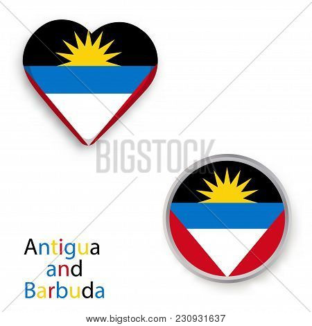 Heart And Circle Symbols With Flag Of Antigua And Barbuda. Vector Illustration