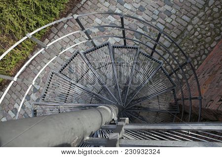 Downward Spiral, Spiral Staircase In Old Town In Warsaw, Poland