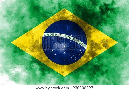Old Brazil Grunge Background Flag, Brazil Flag