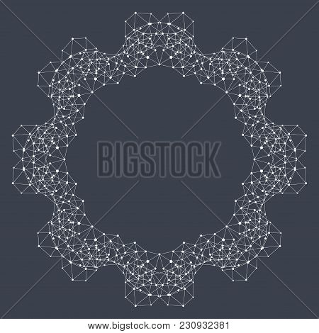 Geometric Abstract Form With Connected Line And Dots. Graphic Background For Your Design And Your Te