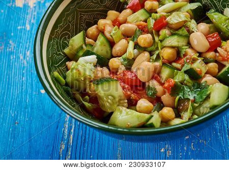 Balela - Middle Eastern-style Bean Salad, Made With Garbanzo And Black Beans, Plus Lots Of Sweet Gra