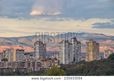 City View To Typical Residential High-rise Buildings In Sofia - The Capital Of Bulgaria, Against The