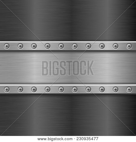 Metal Texture With Horizontal Iron Plate With Rivets. Vector 3d Illustration