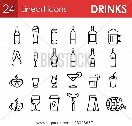 Set Of Icons With Beverage And Drinks For Bar Menu Or Design Of Site. 24 Vector Symbols.
