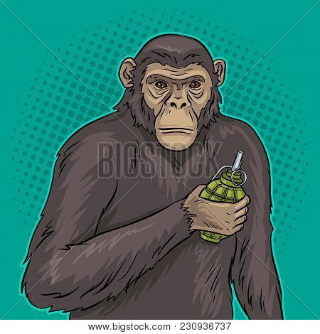 Monkey With Grenade Bomb In Hand Pop Art Retro Vector Illustration. Color Background. Comic Book Sty