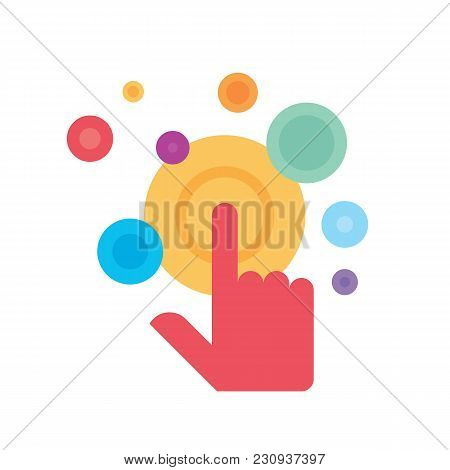 Touch Screen Finger - Vector Logo Template Concept Illustration. Human Hand On Surface Display. Mode