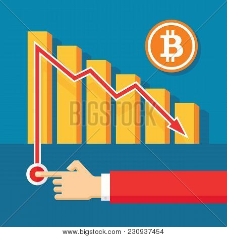 Bitcoin Exchange Graphic Down - Creative Vector Illustration In Flat Style. Human Hand. Abstract Dig