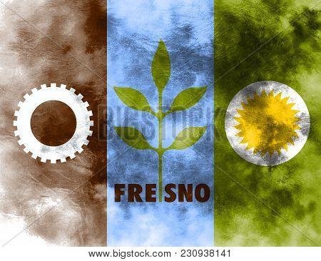 Fresno City Smoke Flag, California State, United States Of America