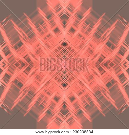 Kaleidoscope Pattern With Bright Coral Stains, Streaks, Strokes On Brown Rhombus. Abstract Backgroun
