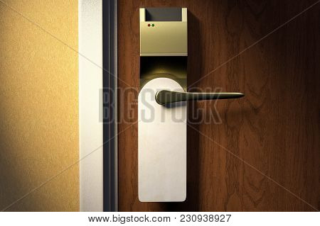 3d Rendering Of A Knob Of A Hotel Door With An Empty Tag
