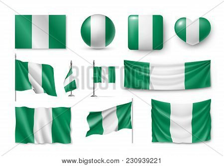 Set Nigeria Flags, Banners, Symbols, Flat Icon. Vector Illustration Of Collection Of African Nationa