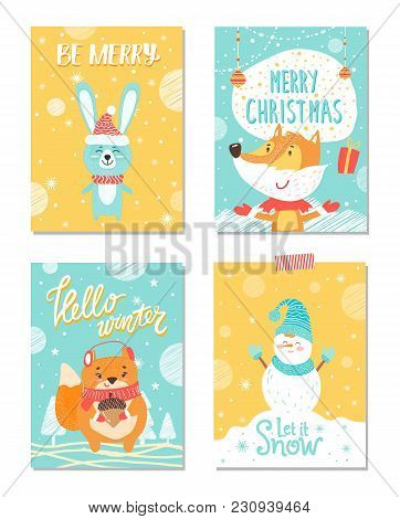 Be Merry And Let It Snow, Hello Winter, Posters Dedicated To Christmas Theme, Images With Rabbit And