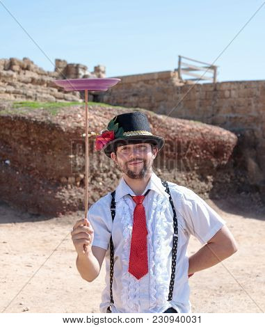 Caesarea, Israel, March 03, 2018 : A Juggler - Participant Of The Purim Festival Shows Performance F