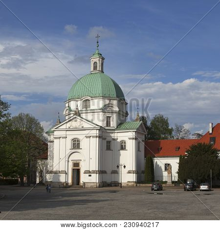 Warsaw, Poland - May 01, 2017, Warsaw Poland Church Of St. Casimir In Newtown Square Adjacent To The