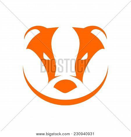 Badger Head Orange Simple Symbol Logo Vector Graphic Design
