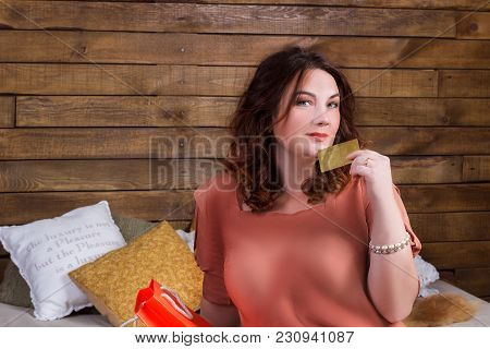 Smiling Woman After Shopping With Colourful Paper Bags, Banking Card