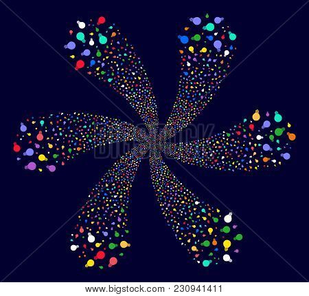 Colorful Electric Bulb Spiral Flower Shape On A Dark Background. Impressive Twist Composed From Scat