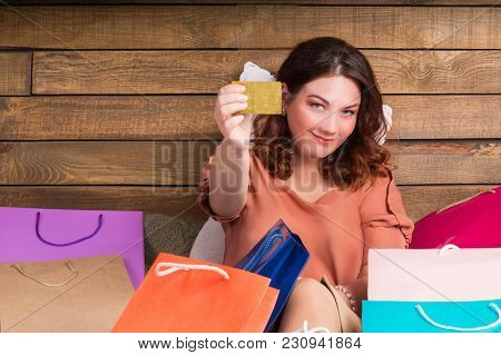 Woman After Shop On Bed With Paper Bags, Banking Card