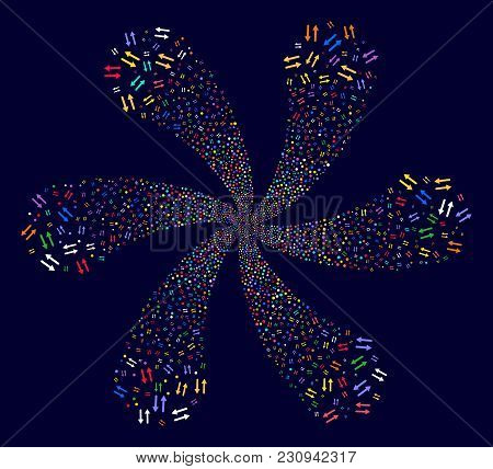 Attractive Exchange Arrows Exploding Abstract Flower On A Dark Background. Suggestive Twirl Organize