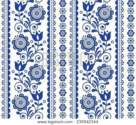 Scandinavian Seamless Vector Pattern With Flowers, Nordic Folk Art Repetitive Navy Blue Ornament