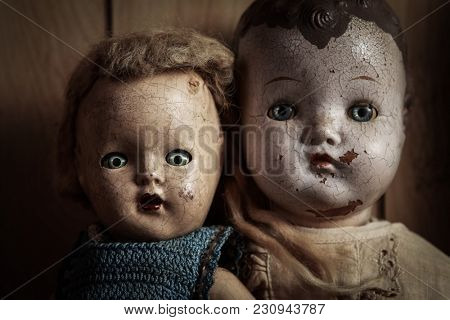 Eerie dolls faces up close