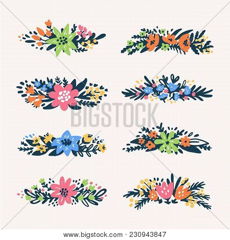 Cute Little Floral Bouquets Borders, Retro Styled Flowers. Floral Dividers Set. Useful For Create We