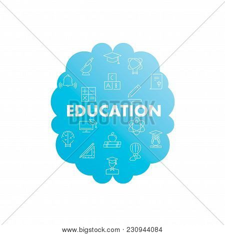 Line Icons In Brain Shape. Education Pack. Vector Illustration For Studying, Learning, Teaching, Wis