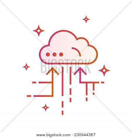 Cloud Iot Internet Of Things Icon. Gradient Vector Illustration Isolated On White Background