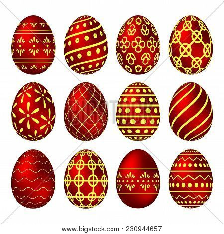 A Set Of Red Easter Eggs With Yellow Patterns. Vector Illustration
