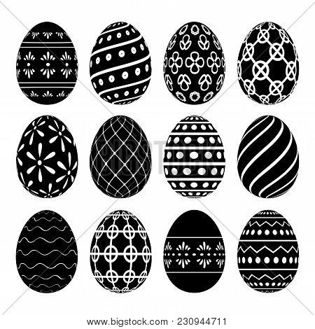 A Set Of Easter Eggs With Patterns. Vector Illustration