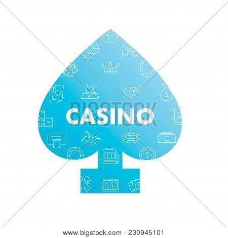 Line Icons In Peaks Shape. Casino Pack. Vector Illustration With Element For Gambling