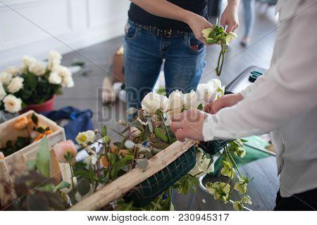 Florists Make A Floral Arrangement. Process Of Work